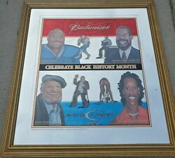 Unique Rare Budweiser True Pioneers Of Black History Glass Sign.