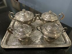 Persian Solid Silver Tea/coffee Set W/tray 2829 Grams Hand Chased Animals Birds