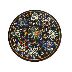 30and039and039 Black Round Marble Table Top Dining Side Pietra Dura Inlay Room Antique L4