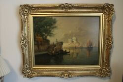 Antique Oil On Canvas Italian School 19th Century Grand Canal Venice Signed