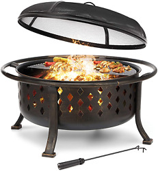 36 Inch Fire Pit Outdoor Wood Burning Fire Pits Large Steel Bbq Grill Firepit Bo
