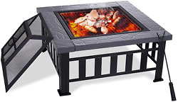 Yardom 34 Inch Outdoor Fire Pits Bbq Square Firepit Table Backyard Patio Garden