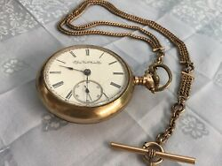 Elgin Pocket Watch 1890's With Fob. Large Open Face