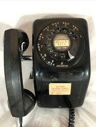Vintage Aeco Black Rotary Dial Corded Wall Telephone Phone Untested