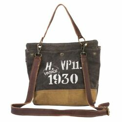 New Myra Bag Hippie Trend Tote Vintage Stamp Crossbody Canvas Leather Upcycle $36.99