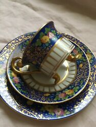 Antique Ambrosius Lamm Dresden Floral And Gold 3 Piece Plate And Cup And Sauce