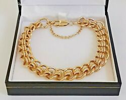 9ct 41.2g Fancy Double Link Gold Bracelet Smooth Polish / Rope Twists 11mm 8.75