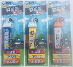 New 2021 Pez Logo Advertising Trucks 3 Different Trucks Mint On Cards W/candy