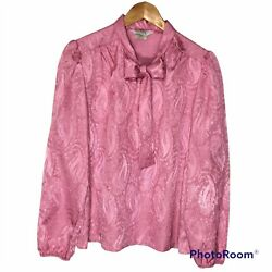 Vintage Mauve Pink Rose Pussy Bow Popover Blouse, Career Professional Blouse