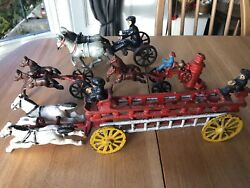 Collection Old Vintage Cast Iron Toy Fire Truck Engine Horse Drawn Cart Wagon