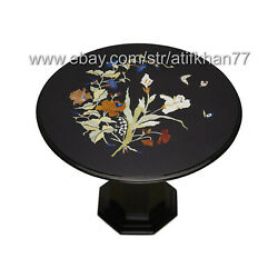 Round Coffee Table Black Marble Inlay Pietra Dura Living Room Antique Furniture