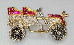 Vintage Car Shape Brooch. Yellow And White Gold. Diamonds.rubies. Europe.xxth