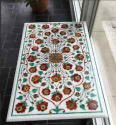 3and039x2and039 White Marble Center Coffee Table Top Inlay Antique Pietra Dura L1