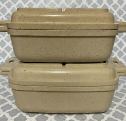 Littonware Microwave Cookware 4 Pc 39274/39275 39271/39272 Square Vintage