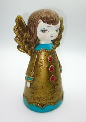 Vintage Angel Paper Mache Bank 1960s Turquoise And Gold Christmas 8 Tall 4 Long