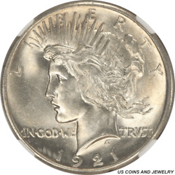 1921 Us Silver Peace Dollar Ngc Ms 63 + High Relief One Year Type