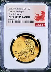 2022 P Australia Proof Gold 100 Lunar Year Of The Tiger Ngc Pf70 1 Oz Coin Fr