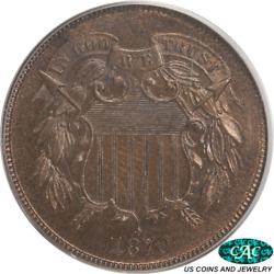 1870 Us Two Cent Piece 2c Pcgs And Cac Pr65rb Red Brown