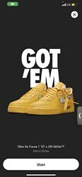 Size 11.5 - Nike Air Force 1 Low X Off-white University Gold - Dd1876-700 Ica