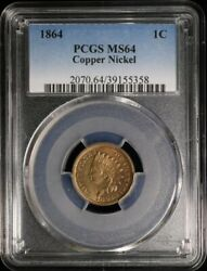 1864 U.s. 1¢ - Indian Head Cent Copper-nickel With Shield - Pcgs Ms64