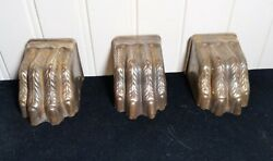 Set Of 3 Larger Duncan Phyfe Furniture Table Leg Toe Caps Lion Claw Feet