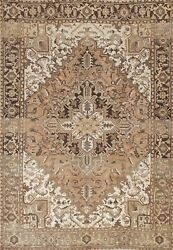 Vintage Geometric Traditional Oriental Area Rug Hand-knotted Wool Carpet 6x9 Ft