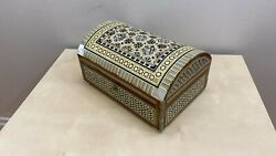 Vintage Micro Mosaic Marquetry Mother Of Pearl Inlay Wooden Jewelry Trinket Box