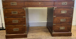 Baker Vintage Leather Top Burled Wood Desk With Metal Accents-30h X 36d X 54w