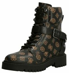 Guess Ondina Brown 4g Logo Leather Womens Combat Boots