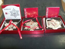 Gorham 2009 2010 And 2011 Sterling Snowflake Christmas Ornaments