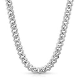 Miami Cuban Link Chain 7-8mm Hollow Necklace Men Women 14k White Gold Italy