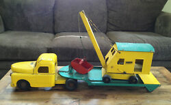Vintage Structo Semi Truck With Low Boy Trailer And Steam Shovel 1950's