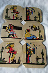 Lot Six Vintage Pressed Paper Hot Pads, Promotional Gifts 6'' X 6''