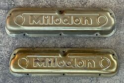 Vintage Milodon Steel Gold Valve Covers Fits 260 289 302 351w Mustang Torino
