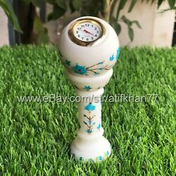 Small Desk Clock Ball Shaped Table Marble Inlay Clocks Multicolor Flower Gift