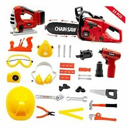 Kids Tool Set With Electric Toy Chainsaw Jigsaw Drill Handsaw Pretend Play