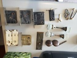 Vintage Brass And Glass Door Knobs And Locks Lot