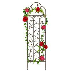 Iron Arched Trellis 60 In. Strong Welded Steel Build Spiked Leg Metal Brown/tan