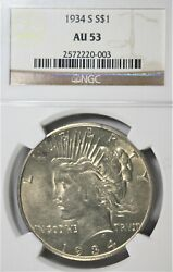 1934-s 1 Peace Silver Dollar Ngc Au53 Nice Mark Free - Tough Coin In All Grades