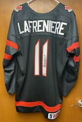 Alexis Lafreniere Signed Black Team Canada Jersey Uda Sold Out On Upper Deck