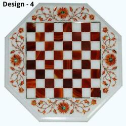 18and039and039 Antique White Marble Chess Table Top Inlay Children Game W2