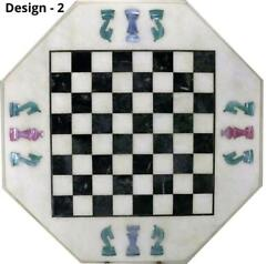18and039and039 Antique White Marble Chess Table Top Inlay Children Game W3