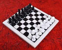 18and039and039 Antique White Marble Chess Table Top Inlay Children Game W10