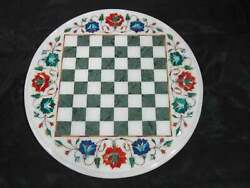 18and039and039 Antique White Marble Chess Table Top Inlay Children Game W1