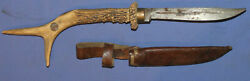Vintage Hand Made Hunting Knife With Antler Handle And Leather Sheath