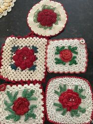 Lot Of 5 Vintage Estate Hot Pads Pot Holders Red White Crocheted
