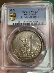Pcgs Ms63 Swiss 1874 Switzerland Silver Coin 5 Francs