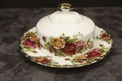 Royal Albert Old Country Roses Round Domed 2 Piece Covered Butter Dish