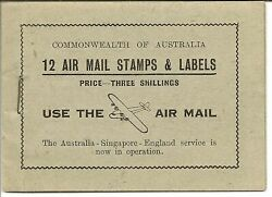 Australia Booklet 1935 Air 3/- Black On Pale Green Cover Sb24a Very Rare