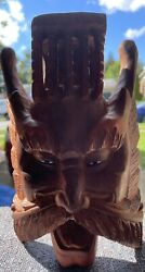 Antique Chinese Asia Oriental Wooden Hand Carved Dragons Emperors Mask Wall